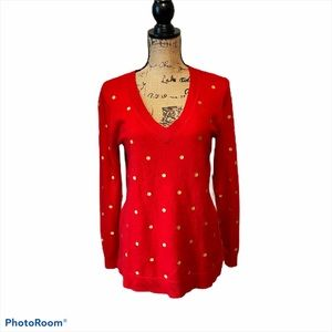 J Crew Sweater Embroidered Polka Dot Red Gold Med